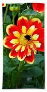 Red And Yellow Flower With Bee Beach Towel