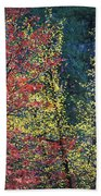 Red And Yellow Leaves Abstract Horizontal Number 1 Beach Towel