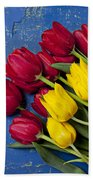 Red And Yellow Tulips Beach Towel