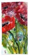 Red Anemone Flowers Beach Towel