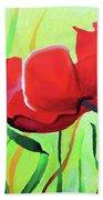 Red Anemonies Beach Towel