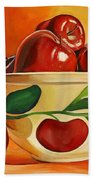 Red Apples In Vintage Watt Yellowware Bowl Beach Towel