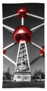 Red Atomium Beach Towel