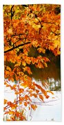 Red Autumn Leaves 2 Beach Towel