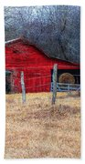 Red Barn A Long The Way Beach Towel