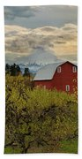 Red Barn At Pear Orchard Beach Towel