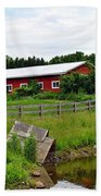 Red Barn By The Lake Beach Towel