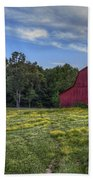Red Barn In A Yellow Field  Beach Towel