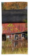 Red Barn In October Beach Towel