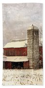Red Barn In Winter Beach Sheet