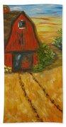 Red Barn- Wheat Field- Down Home Beach Towel