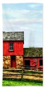 Red Barn With Fence Beach Towel