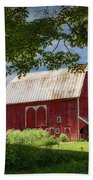 Red Barn With White Arched Door Trim Beach Towel