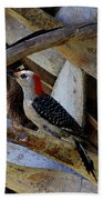 Red-bellied Woodpecker Hides On A Cabbage Palm Beach Towel