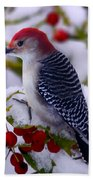 Red Bellied Woodpecker Beach Towel