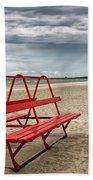 Red Bench On A Beach Beach Towel