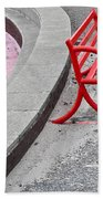 Red Bench Beach Towel