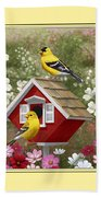 Red Birdhouse And Goldfinches Beach Towel by Crista Forest
