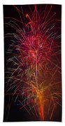 Red Blazing Fireworks Beach Towel