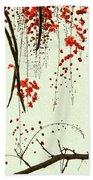 Red Blossom Tree On Handmade Paper Beach Towel