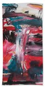 Red Blue Black Abstract Beach Towel
