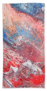 Red Blue White Abstract Beach Towel