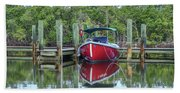 Red Boat Docked Florida Beach Towel
