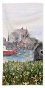 Red Boat In Peggys Cove Nova Scotia  Beach Towel