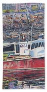 Red Boat Reflections Beach Towel