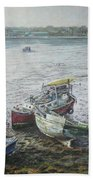 Red Boat Wreck Southampton Beach Towel by Martin Davey