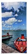Red Boats At Blue Pier Beach Towel