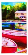 Red Boats At The Lake Beach Towel