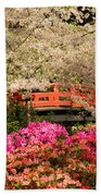 Red Bridge And Blossoms Beach Towel