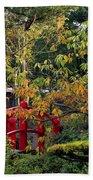 Red Bridge & Japanese Lantern, Autumn Beach Towel