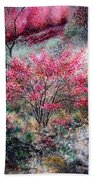 Red Bush Beach Towel