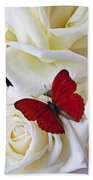 Red Butterfly On White Roses Beach Towel