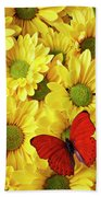 Red Butterfly On Yellow Mums Beach Towel