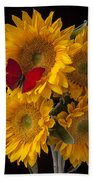 Red Butterfly With Four Sunflowers Beach Towel