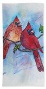 Red Cardinals Beach Towel