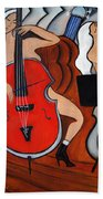Red Cello 2 Beach Towel