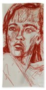 Red Charcoal Sketch 6481 Beach Towel