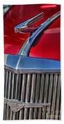 Red Chevrolet Grill And Hood Ornament Beach Towel