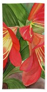Red Clivias - Watercolor Beach Sheet