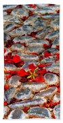 Red Cobblestone Road Beach Towel