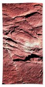 Red Colored Limestone With Grooves Beach Towel