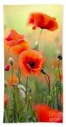 Red Corn Poppy Flowers 06 Beach Sheet