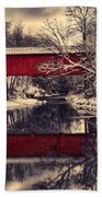Red Covered Bridge In Winter Beach Towel