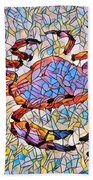 Red Crab Stained Glass Beach Towel