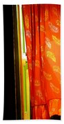 Red Curtain In The Doorway Beach Towel