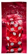 Red Dice Splash Beach Towel